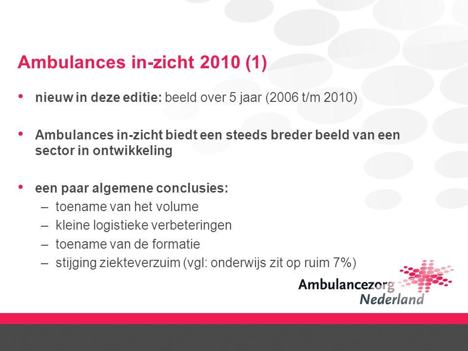 Ambulances in-zicht 2010 (1) nieuw in deze editie: beeld over 5 jaar (2006 t/m 2010) Ambulances in-zicht biedt een steeds breder beeld van een sector