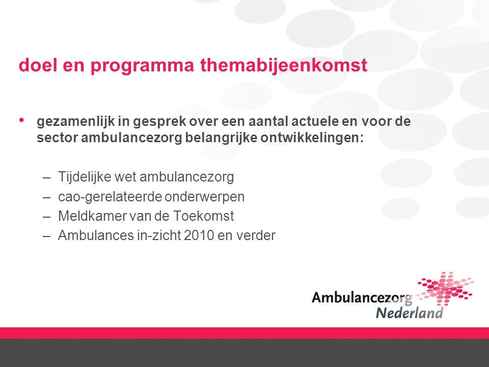 doel en programma themabijeenkomst gezamenlijk in gesprek over een aantal actuele en voor de sector ambulancezorg belangrijke ontwikkelingen: –Tijdeli