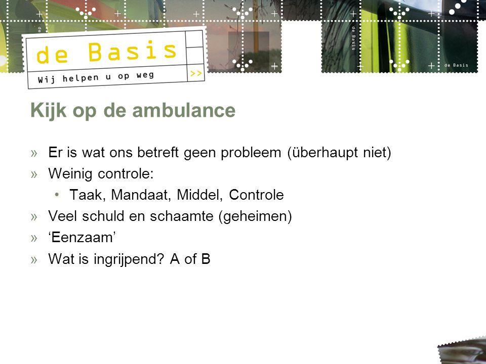 Kijk op de ambulance »Er is wat ons betreft geen probleem (überhaupt niet) »Weinig controle: Taak, Mandaat, Middel, Controle »Veel schuld en schaamte (geheimen) »'Eenzaam' »Wat is ingrijpend.