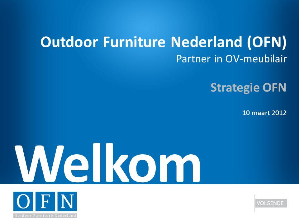 Outdoor Furniture Nederland (OFN) Partner in OV-meubilair 8/12 Slide To Be Wederom gebruik van Model Business Model Generation Resultaten verwerkt in vernieuwde situatie Veel ontwikkelingen zijn in gang gezet