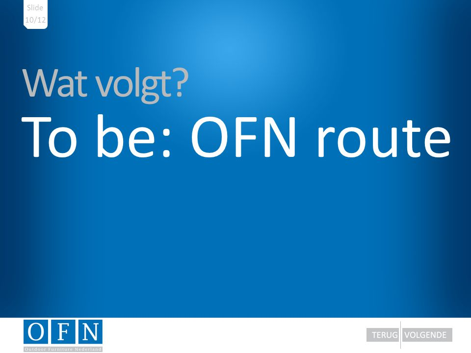 Wat volgt? To be: OFN route 10/12 Slide