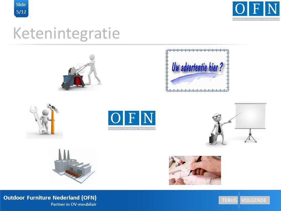 Outdoor Furniture Nederland (OFN) Partner in OV-meubilair 5/12 Slide Ketenintegratie Montage Reclame exploitatie Advies Industrieel ontwerp Fabricage Integratie Integratie betekent een functionaliteit toevoegen bij OFN of het opstarten van een nieuwe BV.