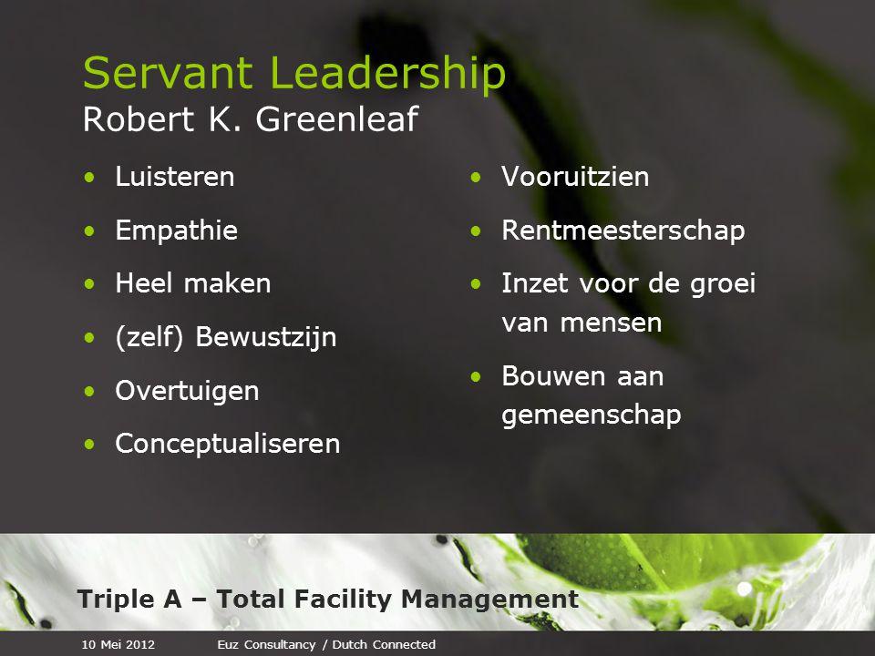 Triple A – Total Facility Management Aanbevelingen (4) Zorg voor een goede planning en hou je daar aan Wees op tijd Afspraak is afspraak Als je een afspraak moet schrappen, maak dan direct een nieuwe 10 Mei 2012Euz Consultancy / Dutch Connected
