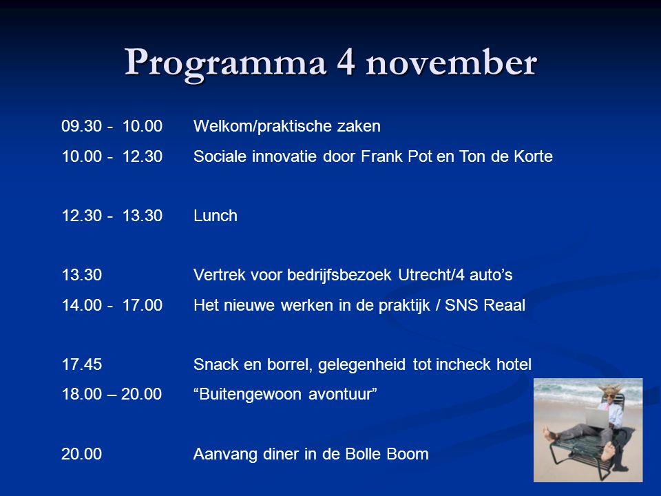 Programma 4 november 09.30 - 10.00Welkom/praktische zaken 10.00 - 12.30Sociale innovatie door Frank Pot en Ton de Korte 12.30 - 13.30Lunch 13.30Vertrek voor bedrijfsbezoek Utrecht/4 auto's 14.00 - 17.00Het nieuwe werken in de praktijk / SNS Reaal 17.45Snack en borrel, gelegenheid tot incheck hotel 18.00 – 20.00 Buitengewoon avontuur 20.00Aanvang diner in de Bolle Boom