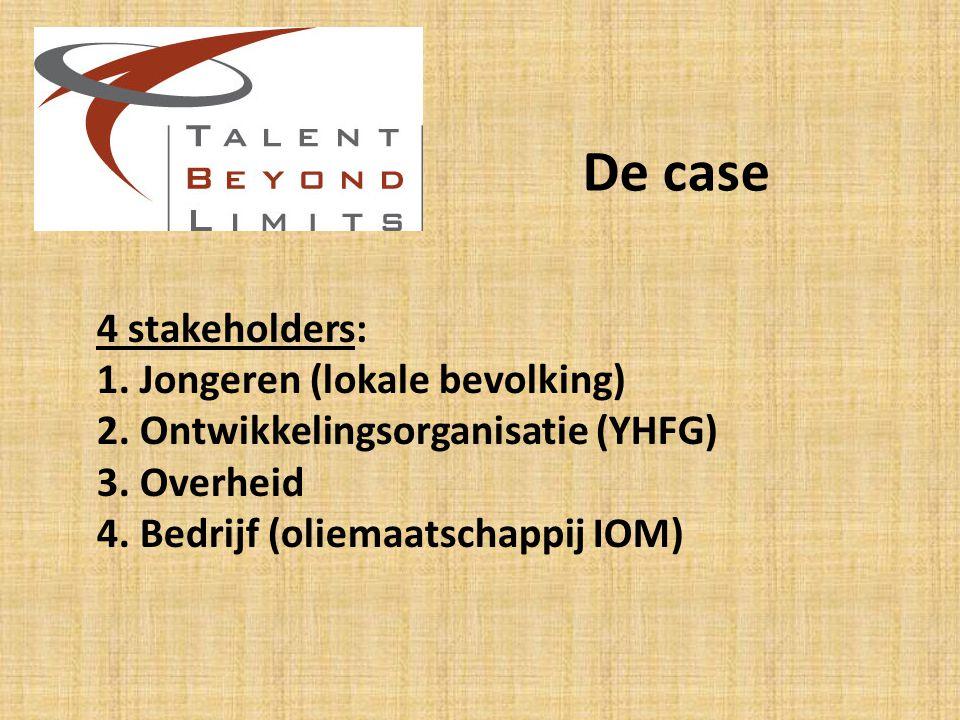 De case 4 stakeholders: 1.Jongeren (lokale bevolking) 2.