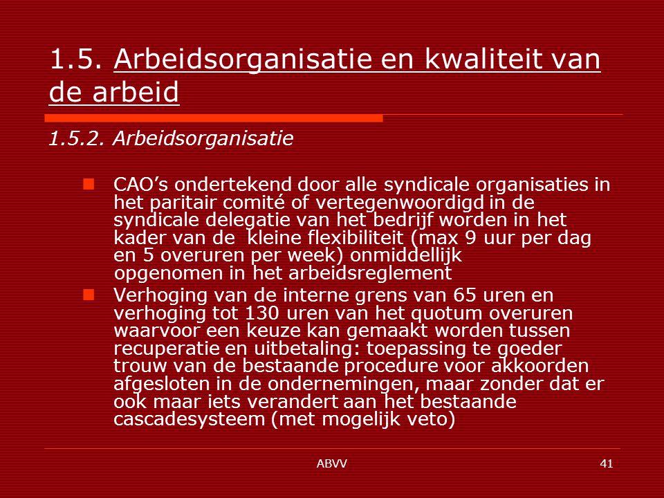ABVV41 1.5. Arbeidsorganisatie en kwaliteit van de arbeid 1.5.2.