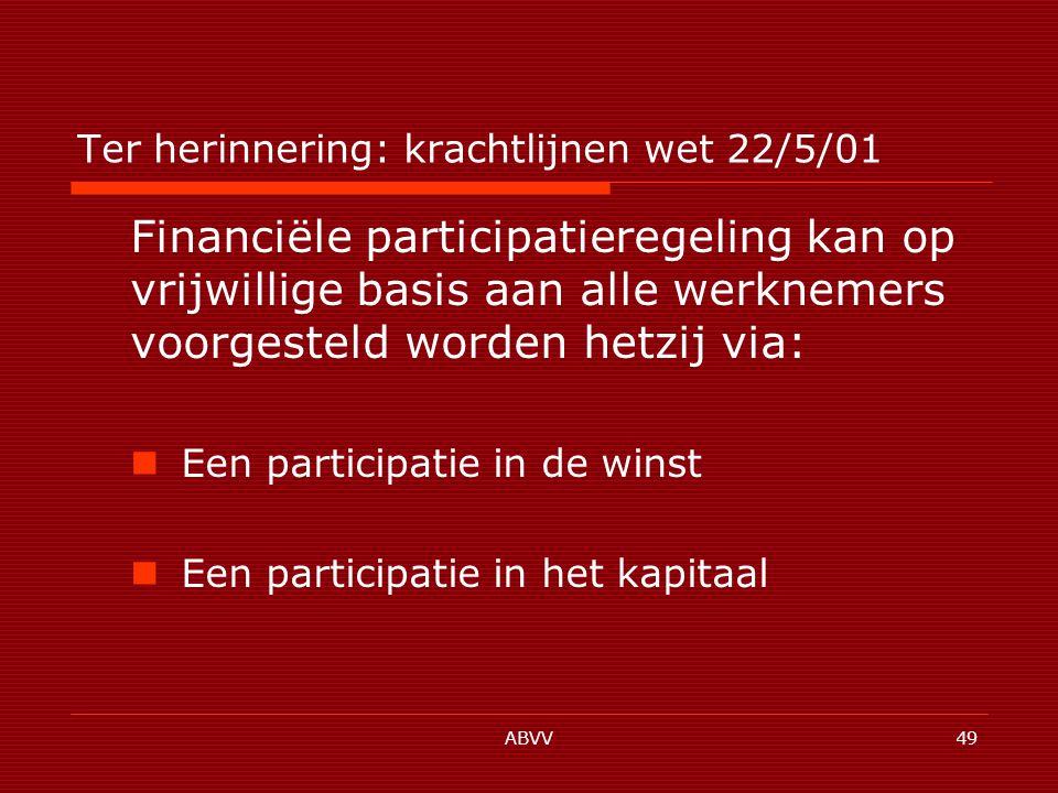 ABVV49 Ter herinnering: krachtlijnen wet 22/5/01 Financiële participatieregeling kan op vrijwillige basis aan alle werknemers voorgesteld worden hetzij via: Een participatie in de winst Een participatie in het kapitaal