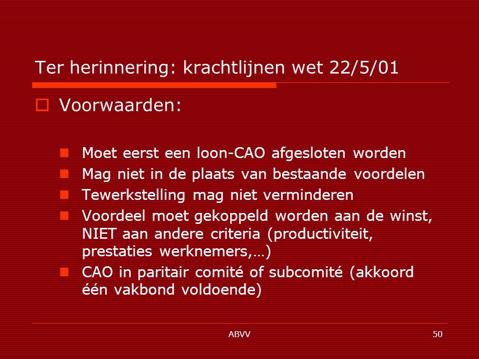 ABVV50 Ter herinnering: krachtlijnen wet 22/5/01  Voorwaarden: Moet eerst een loon-CAO afgesloten worden Mag niet in de plaats van bestaande voordelen Tewerkstelling mag niet verminderen Voordeel moet gekoppeld worden aan de winst, NIET aan andere criteria (productiviteit, prestaties werknemers,…) CAO in paritair comité of subcomité (akkoord één vakbond voldoende)