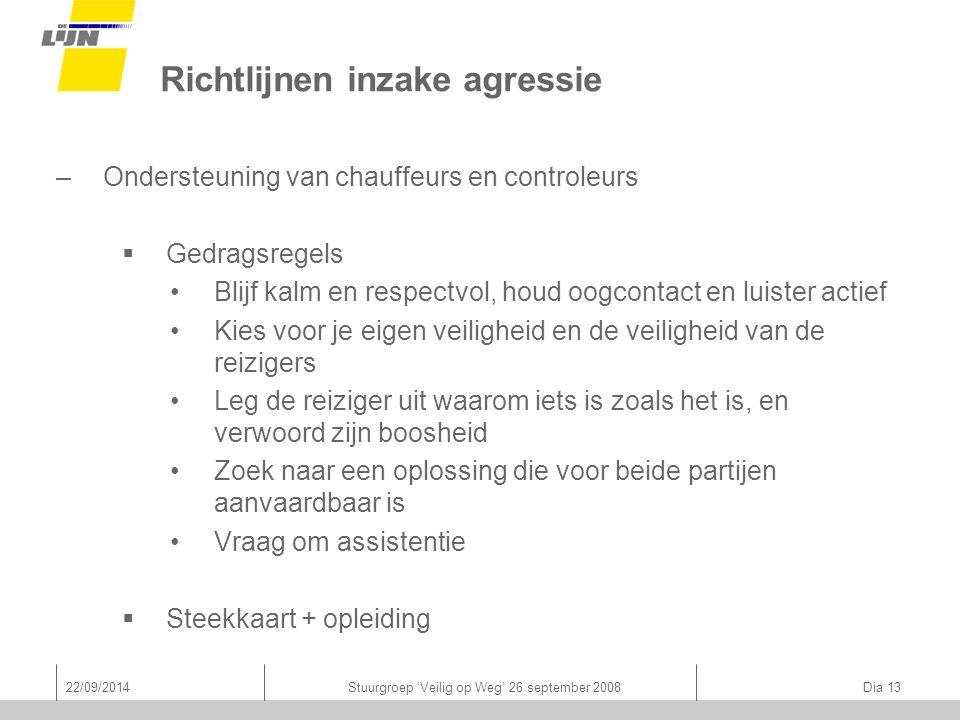 22/09/2014Stuurgroep 'Veilig op Weg' 26 september 2008 Dia 13 Richtlijnen inzake agressie –Ondersteuning van chauffeurs en controleurs  Gedragsregels
