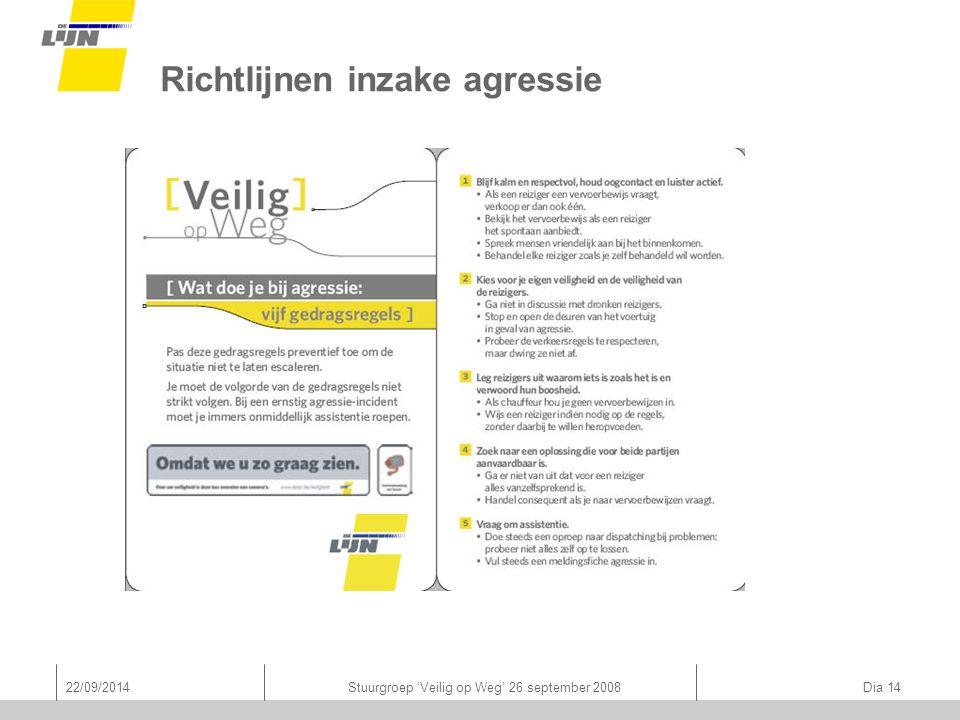 22/09/2014Stuurgroep 'Veilig op Weg' 26 september 2008 Dia 14 Richtlijnen inzake agressie