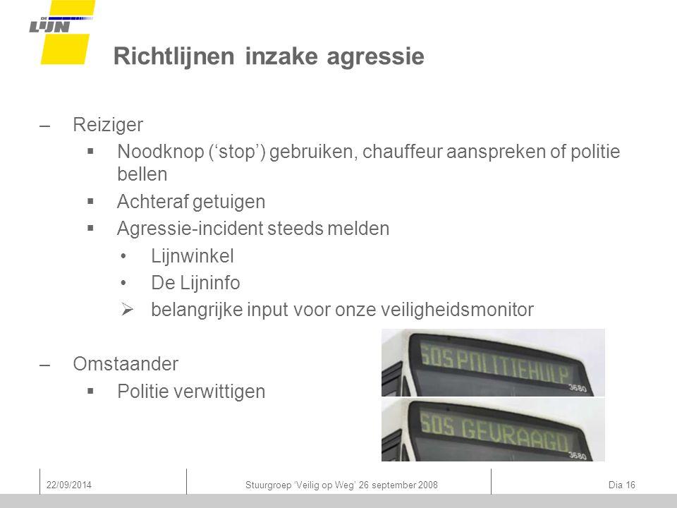22/09/2014Stuurgroep 'Veilig op Weg' 26 september 2008 Dia 16 Richtlijnen inzake agressie –Reiziger  Noodknop ('stop') gebruiken, chauffeur aanspreke