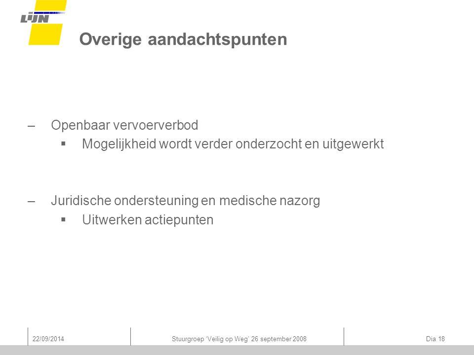 22/09/2014Stuurgroep 'Veilig op Weg' 26 september 2008 Dia 18 Overige aandachtspunten –Openbaar vervoerverbod  Mogelijkheid wordt verder onderzocht e