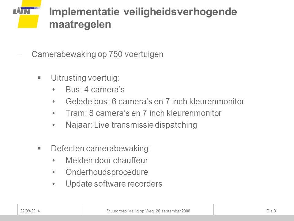 22/09/2014Stuurgroep 'Veilig op Weg' 26 september 2008 Dia 3 Implementatie veiligheidsverhogende maatregelen –Camerabewaking op 750 voertuigen  Uitru