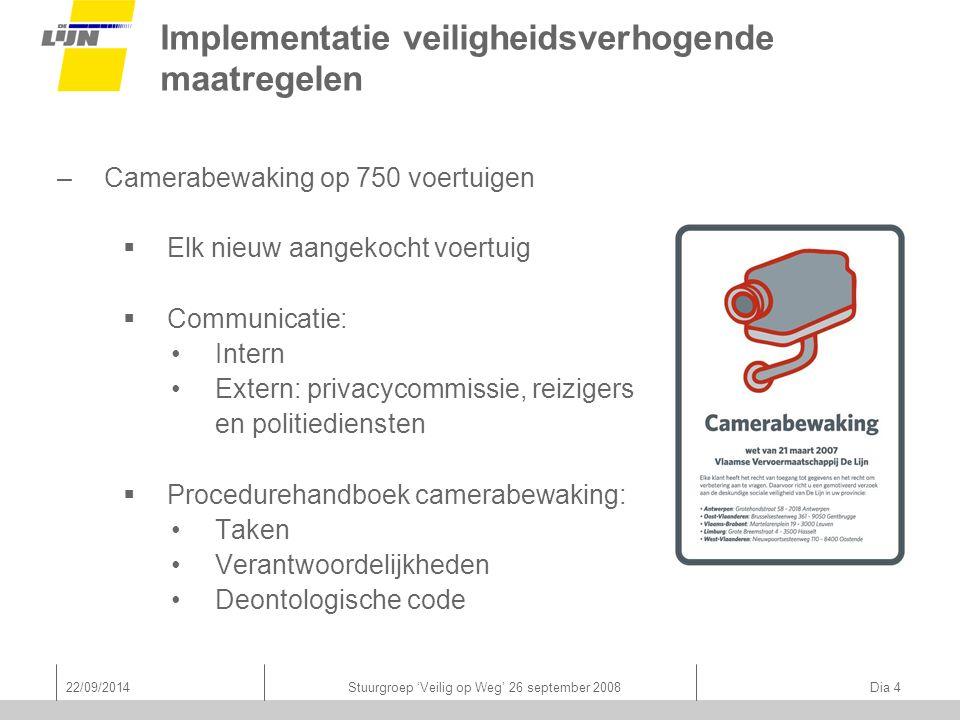 22/09/2014Stuurgroep 'Veilig op Weg' 26 september 2008 Dia 4 Implementatie veiligheidsverhogende maatregelen –Camerabewaking op 750 voertuigen  Elk n