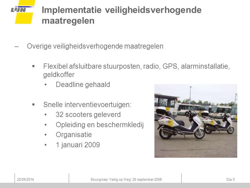 22/09/2014Stuurgroep 'Veilig op Weg' 26 september 2008 Dia 5 Implementatie veiligheidsverhogende maatregelen –Overige veiligheidsverhogende maatregele