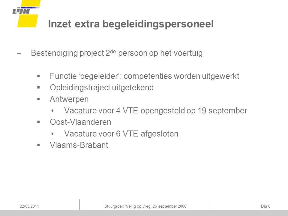 22/09/2014Stuurgroep 'Veilig op Weg' 26 september 2008 Dia 6 Inzet extra begeleidingspersoneel –Bestendiging project 2 de persoon op het voertuig  Fu
