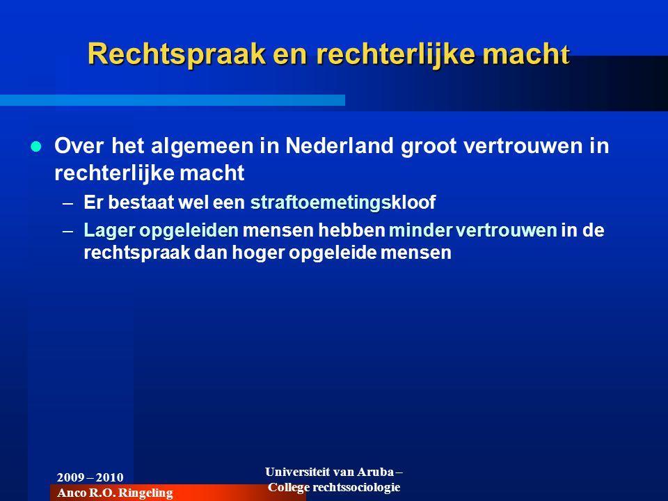 Over het algemeen in Nederland groot vertrouwen in rechterlijke macht straftoemetings –Er bestaat wel een straftoemetingskloof –Lager opgeleiden minde