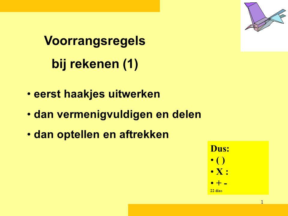1 eerst haakjes uitwerken dan vermenigvuldigen en delen dan optellen en aftrekken Voorrangsregels bij rekenen (1) Dus: ( ) X : + - 22 dias