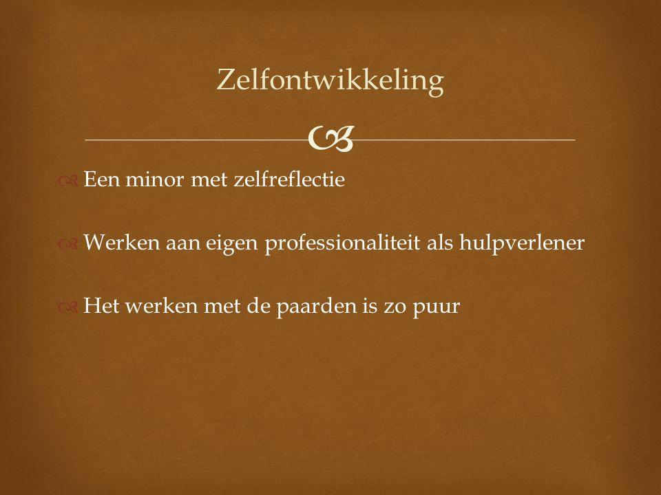   Een minor met zelfreflectie  Werken aan eigen professionaliteit als hulpverlener  Het werken met de paarden is zo puur Zelfontwikkeling