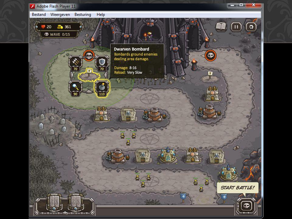 Kingdom rush is een game waarbij men de muren van een kasteel moet verdedigen tegen ongewenste gasten.