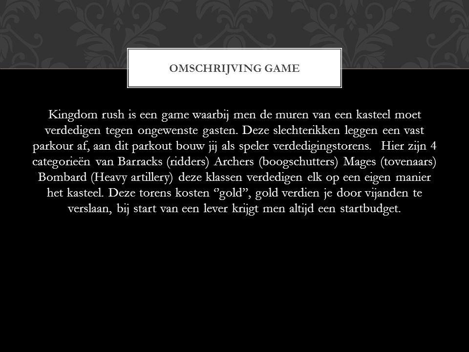 Kingdom rush is een game waarbij men de muren van een kasteel moet verdedigen tegen ongewenste gasten. Deze slechterikken leggen een vast parkour af,