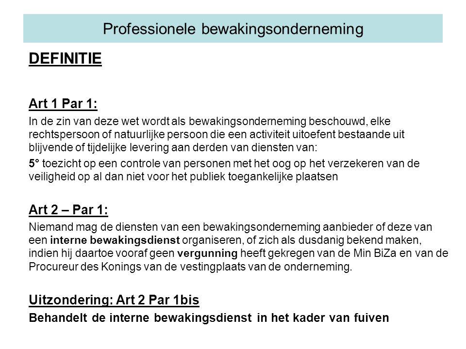 Professionele bewakingsonderneming DEFINITIE Art 1 Par 1: In de zin van deze wet wordt als bewakingsonderneming beschouwd, elke rechtspersoon of natuu