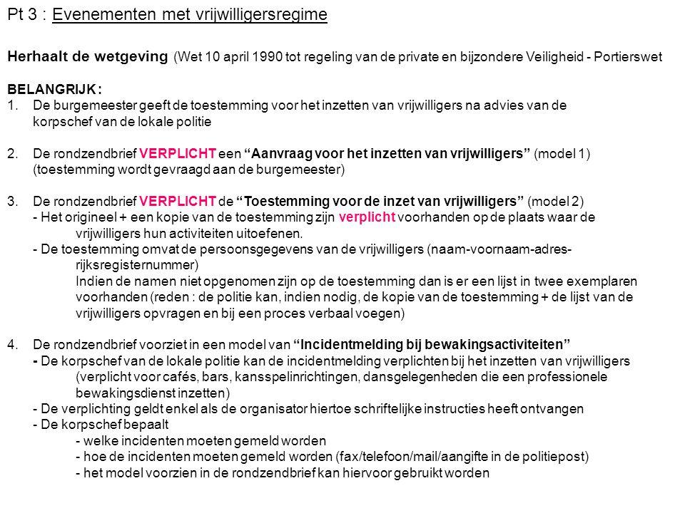 Pt 3 : Evenementen met vrijwilligersregime Herhaalt de wetgeving (Wet 10 april 1990 tot regeling van de private en bijzondere Veiligheid - Portierswet