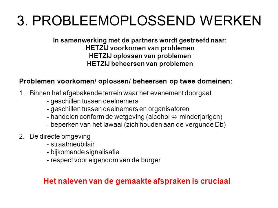 3. PROBLEEMOPLOSSEND WERKEN In samenwerking met de partners wordt gestreefd naar: HETZIJ voorkomen van problemen HETZIJ oplossen van problemen HETZIJ