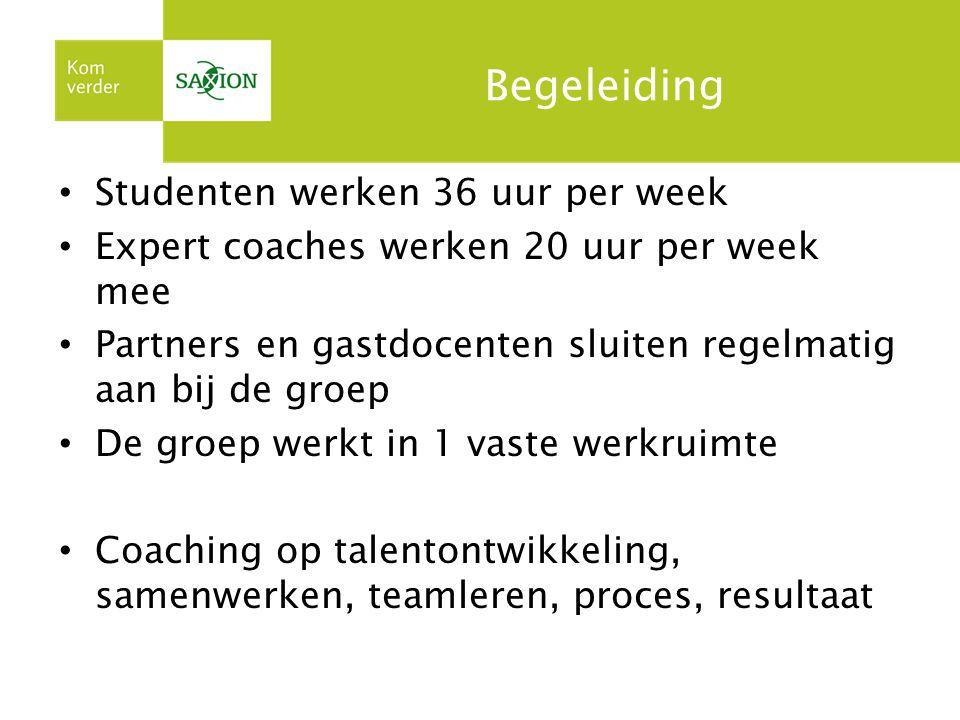 Begeleiding Studenten werken 36 uur per week Expert coaches werken 20 uur per week mee Partners en gastdocenten sluiten regelmatig aan bij de groep De groep werkt in 1 vaste werkruimte Coaching op talentontwikkeling, samenwerken, teamleren, proces, resultaat