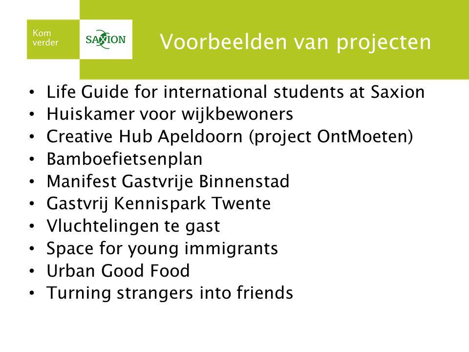 Voorbeelden van projecten Life Guide for international students at Saxion Huiskamer voor wijkbewoners Creative Hub Apeldoorn (project OntMoeten) Bambo