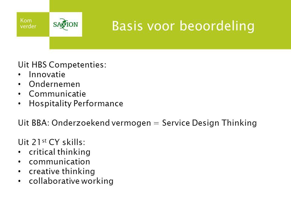 Basis voor beoordeling Uit HBS Competenties: Innovatie Ondernemen Communicatie Hospitality Performance Uit BBA: Onderzoekend vermogen = Service Design