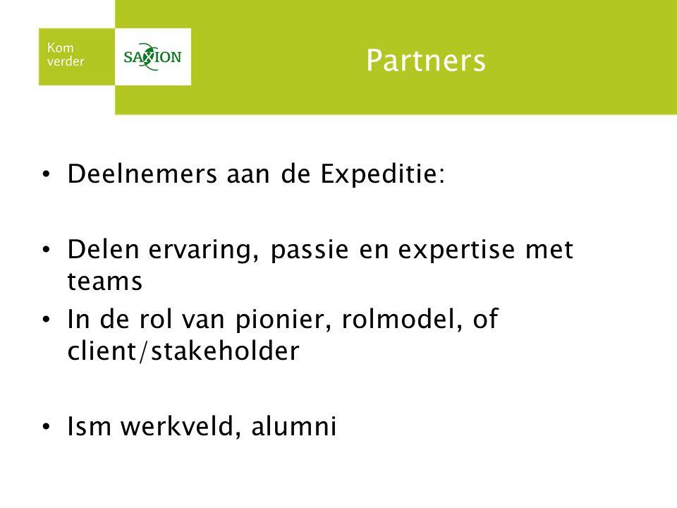 Partners Deelnemers aan de Expeditie: Delen ervaring, passie en expertise met teams In de rol van pionier, rolmodel, of client/stakeholder Ism werkveld, alumni