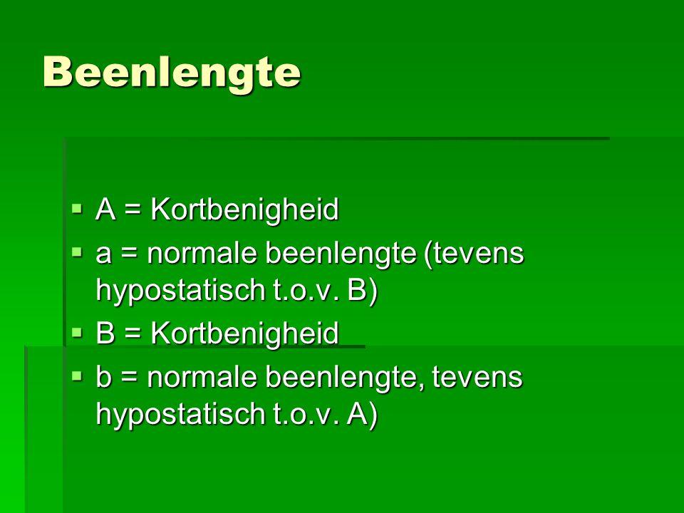 Beenlengte  A = Kortbenigheid  a = normale beenlengte (tevens hypostatisch t.o.v. B)  B = Kortbenigheid  b = normale beenlengte, tevens hypostatis