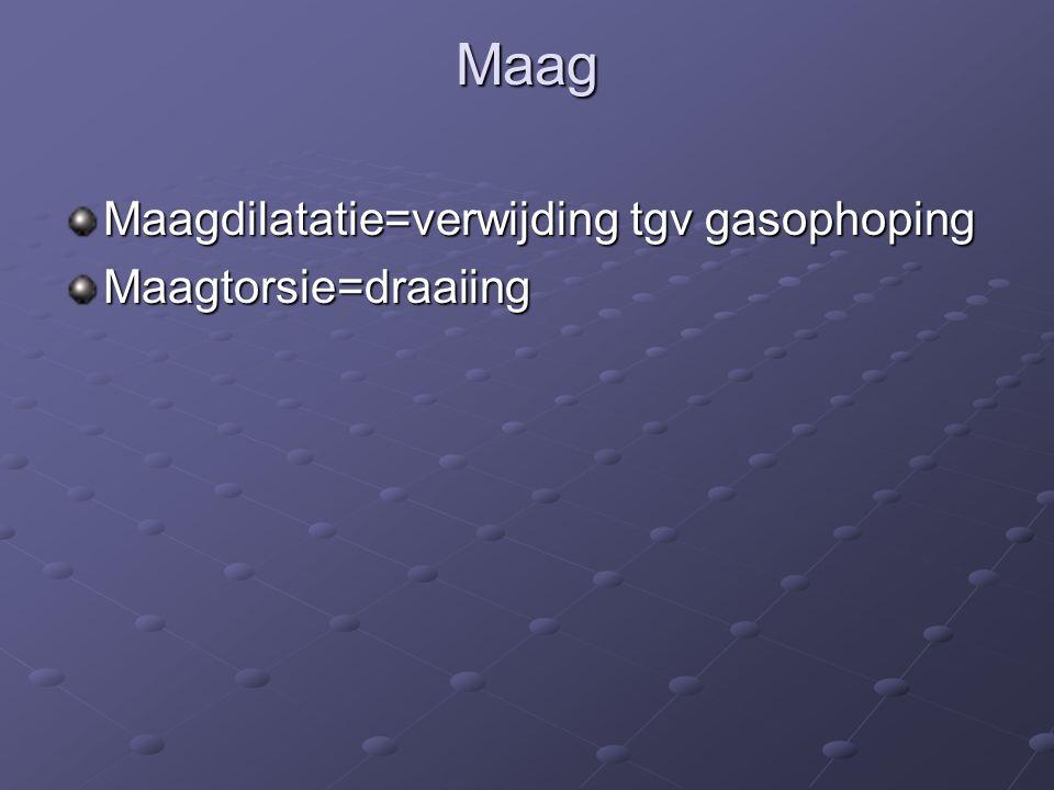 Maag Maagdilatatie=verwijding tgv gasophoping Maagtorsie=draaiing