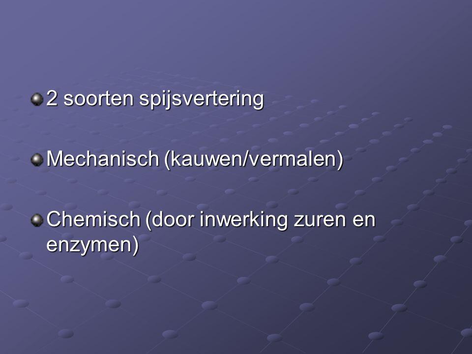 2 soorten spijsvertering Mechanisch (kauwen/vermalen) Chemisch (door inwerking zuren en enzymen)