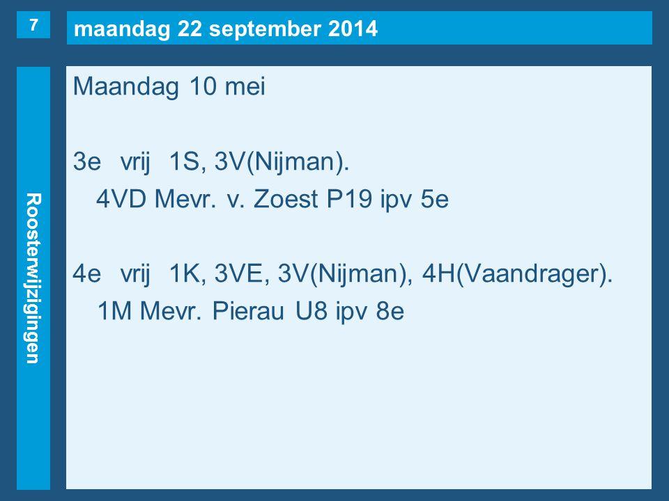 maandag 22 september 2014 Roosterwijzigingen Maandag 10 mei 3evrij1S, 3V(Nijman). 4VD Mevr. v. Zoest P19 ipv 5e 4evrij1K, 3VE, 3V(Nijman), 4H(Vaandrag