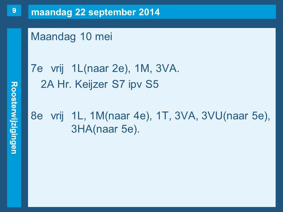 maandag 22 september 2014 Roosterwijzigingen Maandag 10 mei 7evrij1L(naar 2e), 1M, 3VA. 2A Hr. Keijzer S7 ipv S5 8evrij1L, 1M(naar 4e), 1T, 3VA, 3VU(n