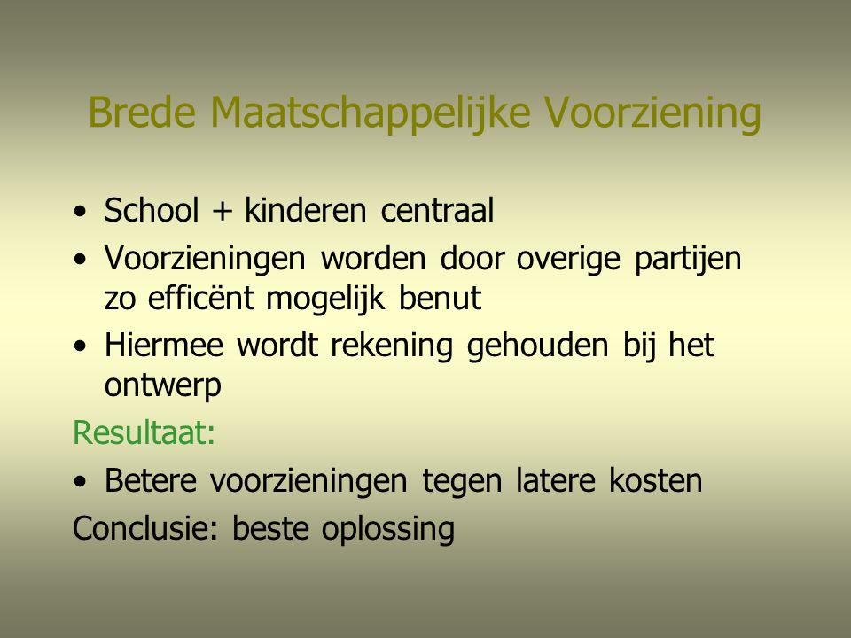 Brede Maatschappelijke Voorziening School + kinderen centraal Voorzieningen worden door overige partijen zo efficënt mogelijk benut Hiermee wordt reke