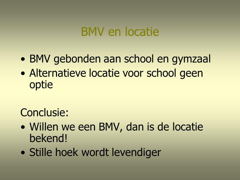 BMV en locatie BMV gebonden aan school en gymzaal Alternatieve locatie voor school geen optie Conclusie: Willen we een BMV, dan is de locatie bekend!
