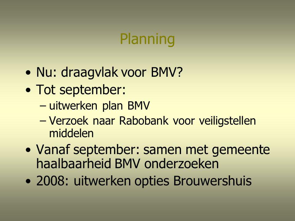 Planning Nu: draagvlak voor BMV? Tot september: –uitwerken plan BMV –Verzoek naar Rabobank voor veiligstellen middelen Vanaf september: samen met geme