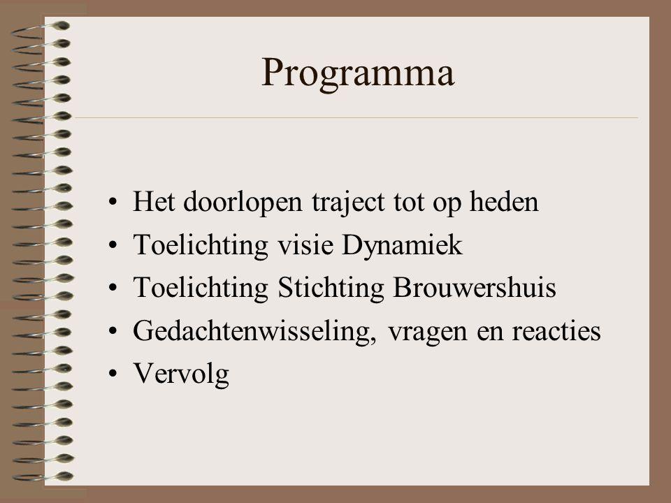 Programma Het doorlopen traject tot op heden Toelichting visie Dynamiek Toelichting Stichting Brouwershuis Gedachtenwisseling, vragen en reacties Vervolg