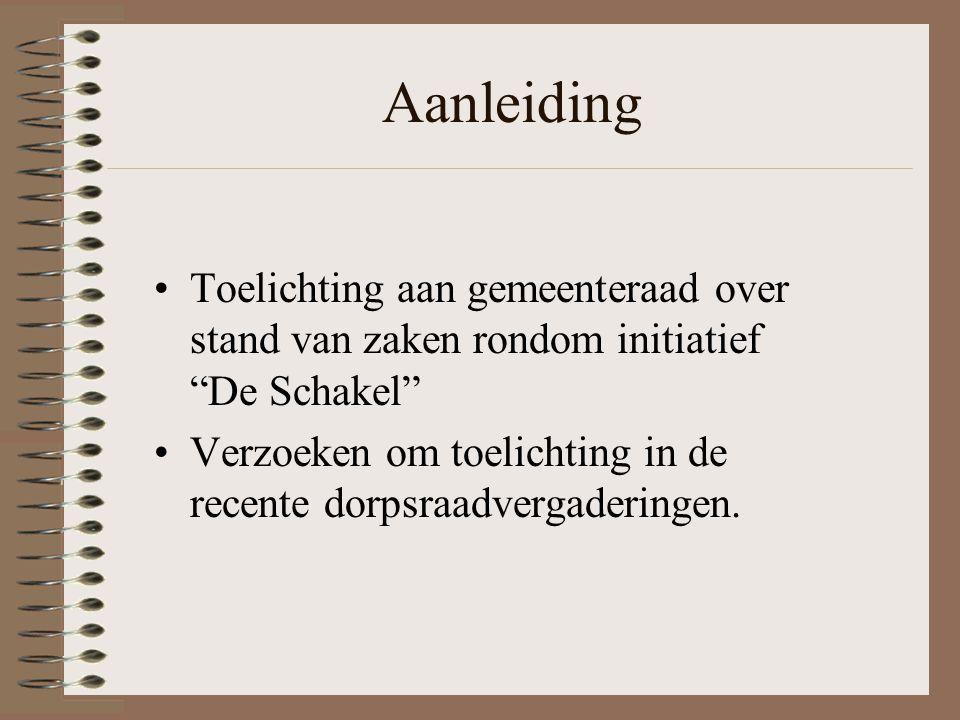 Aanleiding Toelichting aan gemeenteraad over stand van zaken rondom initiatief De Schakel Verzoeken om toelichting in de recente dorpsraadvergaderingen.