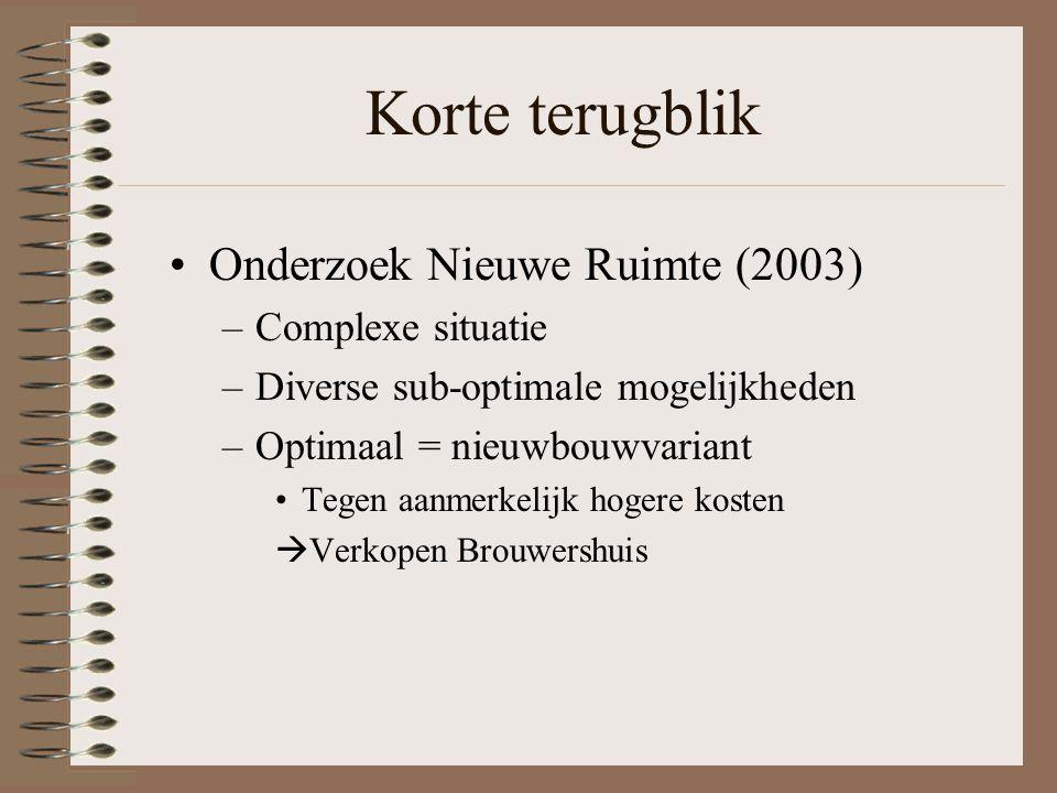 Korte terugblik Onderzoek Nieuwe Ruimte (2003) –Complexe situatie –Diverse sub-optimale mogelijkheden –Optimaal = nieuwbouwvariant Tegen aanmerkelijk hogere kosten  Verkopen Brouwershuis