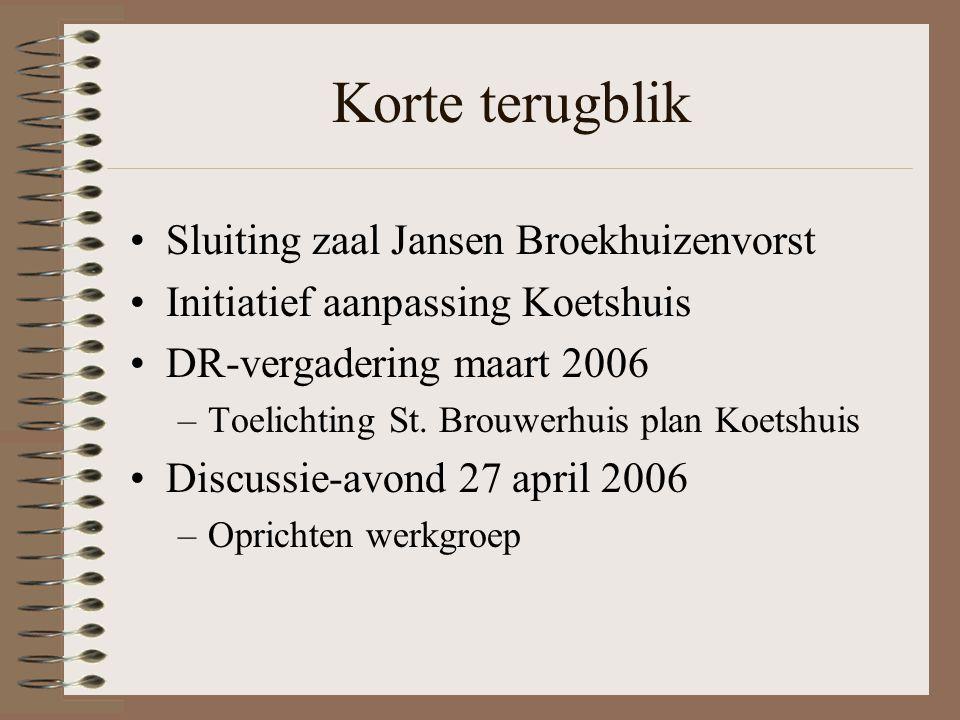 Korte terugblik Sluiting zaal Jansen Broekhuizenvorst Initiatief aanpassing Koetshuis DR-vergadering maart 2006 –Toelichting St.
