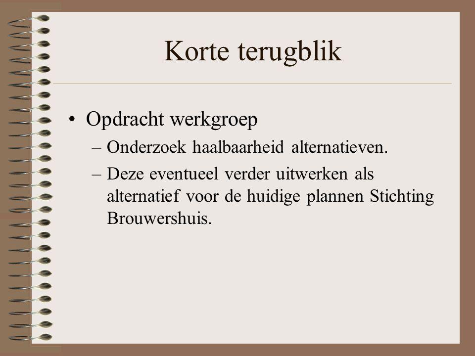 Korte terugblik Opdracht werkgroep –Onderzoek haalbaarheid alternatieven.