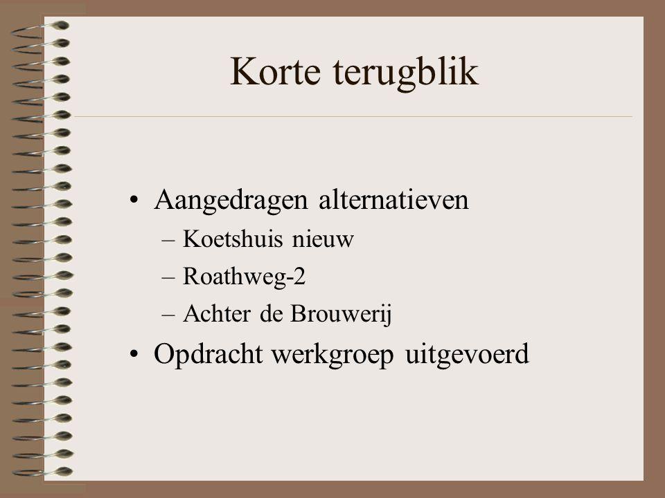 Korte terugblik Aangedragen alternatieven –Koetshuis nieuw –Roathweg-2 –Achter de Brouwerij Opdracht werkgroep uitgevoerd