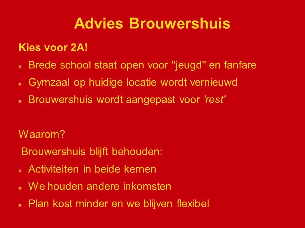 Advies Brouwershuis Kies voor 2A! Brede school staat open voor ''jeugd'' en fanfare Gymzaal op huidige locatie wordt vernieuwd Brouwershuis wordt aang