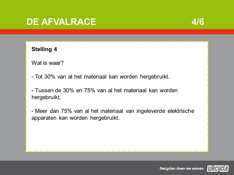 DE AFVALRACE4/6 Stelling 4 Wat is waar. - Tot 30% van al het materiaal kan worden hergebruikt.