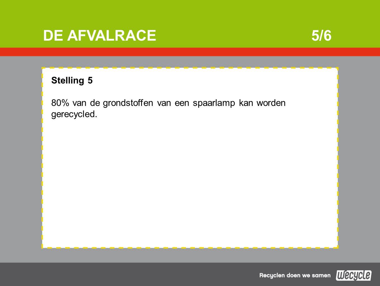 DE AFVALRACE5/6 Stelling 5 80% van de grondstoffen van een spaarlamp kan worden gerecycled.
