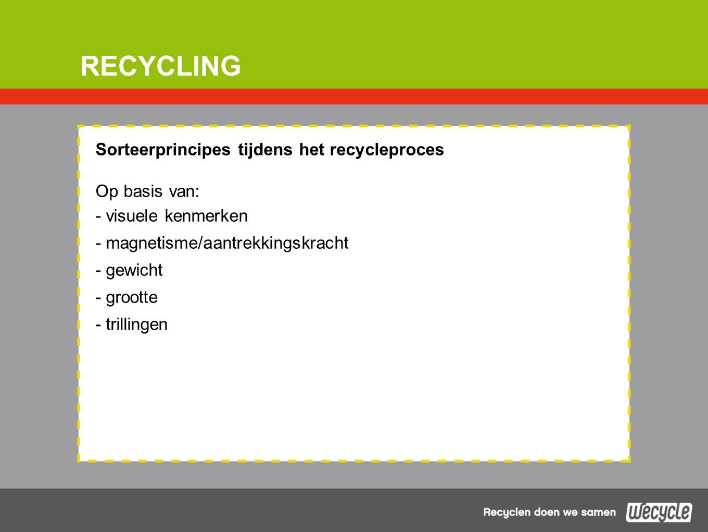 RECYCLING Sorteerprincipes tijdens het recycleproces Op basis van: - visuele kenmerken - magnetisme/aantrekkingskracht - gewicht - grootte - trillingen